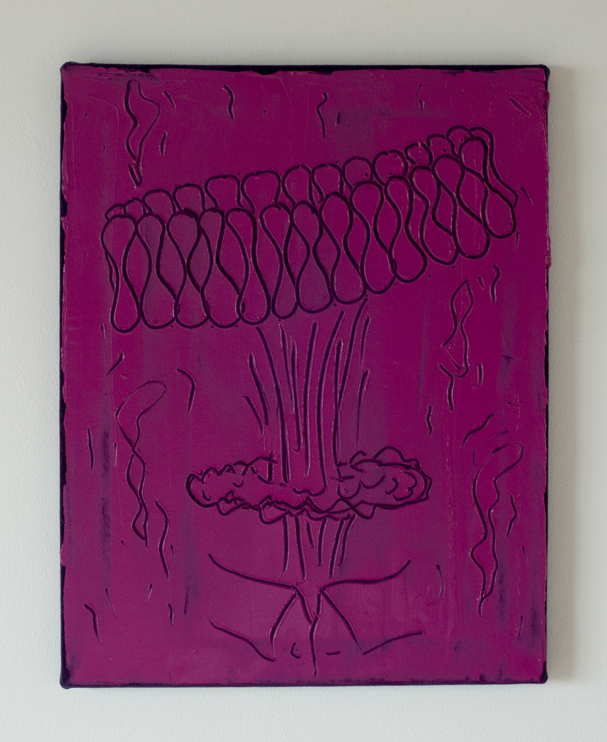 Ruffle Bomb, oil paint on purple velvet.